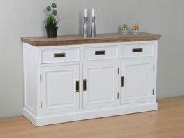 Marie dressoir met 3 lades en 3 deuren wit en white wash gebeitst - opgebouwd