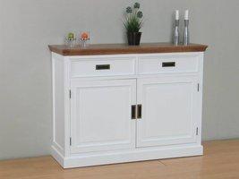 Marie dressoir met 2 lades en 2 deuren wit en white wash gebeitst - opgebouwd