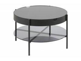 Tipon salontafel Ø 75 cm met 1 onderplaat in rookglas en onderstel in poedercoating metaal zwart