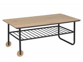 FYN Wolly salontafel met 2 wielen wild eiken en mat metalen onderstel zwart