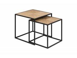 Orcean salontafel, bijzettafel 2 st. in paulownia hout en metalen onderstel zwart