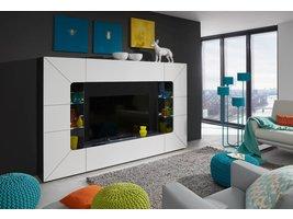 Sprint Media TV meubel in wit hoogglans met grijze en zwarte groeven met LED licht