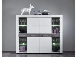 Scalea dressoir in wit en donkerbruin met 4 deuren, 2 in glas met LED licht