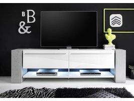 Time Media TV meubel met 2 deuren en planken  in wit hoogglans en beton decor met LED licht