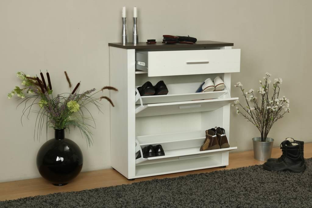 Schoenenkast In Stijl Design.Dakota Schoenenkast Met 2 Deuren En 1 Lade In Wit Met Structuur En
