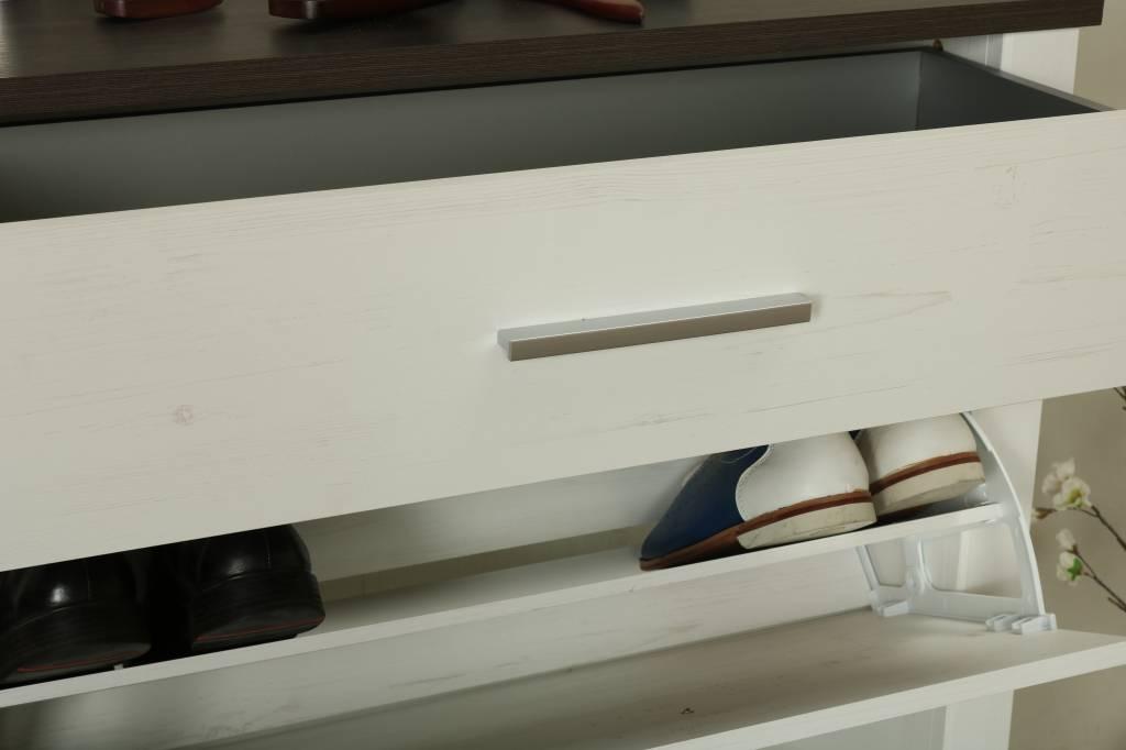 Schoenenkast En Kapstok In 1.Dakota Schoenenkast Met 2 Deuren En 1 Lade In Wit Met Structuur En
