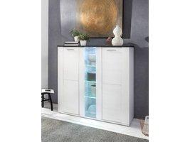 Dakota dressoir met 3 deuren, 1 in glas met LED licht in wit met structuur en donkerbruine topplaat