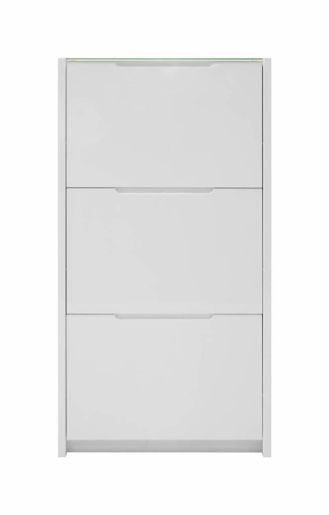 Berlin schoenenkast met 3 klapdeuren in wit hoogglans en glazen topplaat