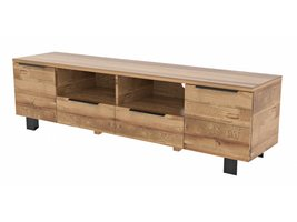 London TV meubel met 2 deuren en 2 lades in geborsteld massief wild eikenhout