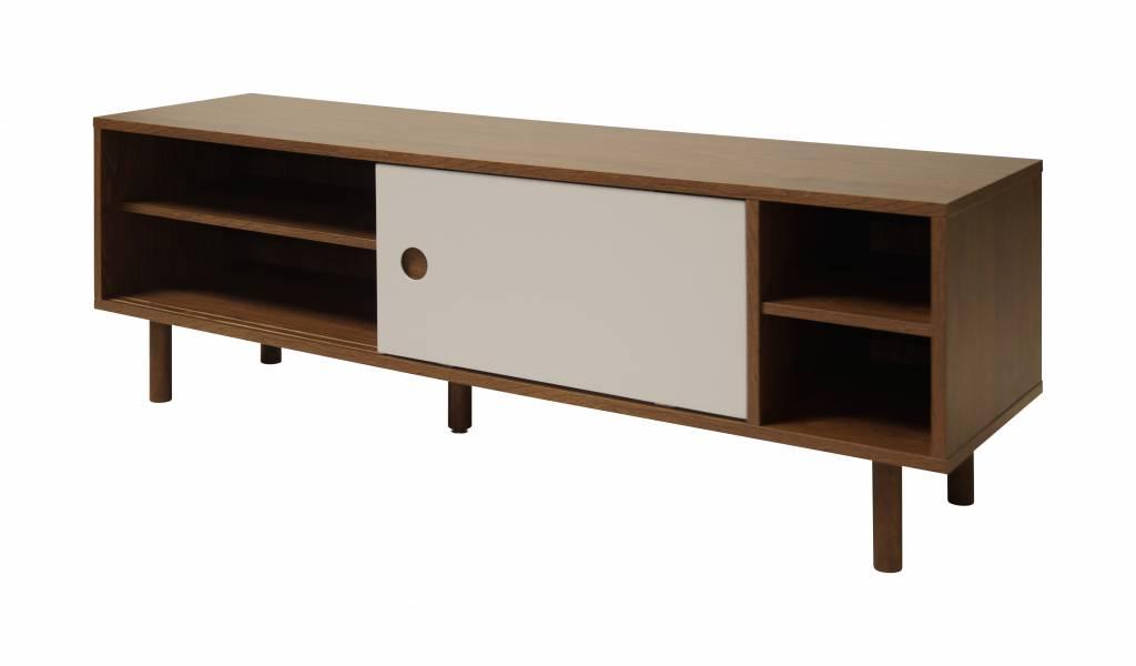 Republic tv meubel met schuifdeuren en walnoothouten decor