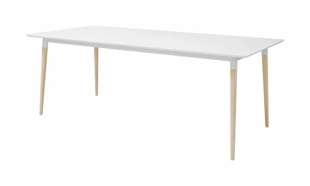 Eettafel Wit 200 Cm.Olivia Eettafel In Wit Met Eiken Onderstel