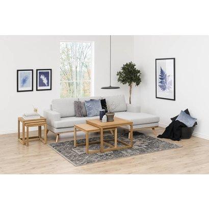 FYN Nord 2-zitsbank met chaise longue rechts in lichtgrijze stof