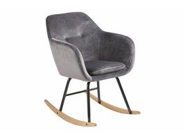 FYN Emil schommelstoel in donkergrijs en zwart metalen onderstel