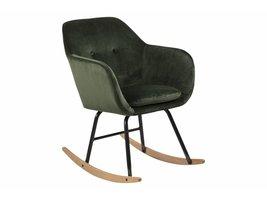 FYN Emil schommelstoel in bosgroen en zwart metalen onderstel
