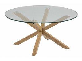 FYN Heat salontafel Ø82 met glazen topplaat en onderstel in eiken
