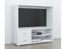 Bocca TV meubel met open ruimte, 2 planken en 2 lades in wit