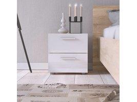 Tvilum Pepe nachtkastje met 2 lades in hoogglans wit en eiken decor