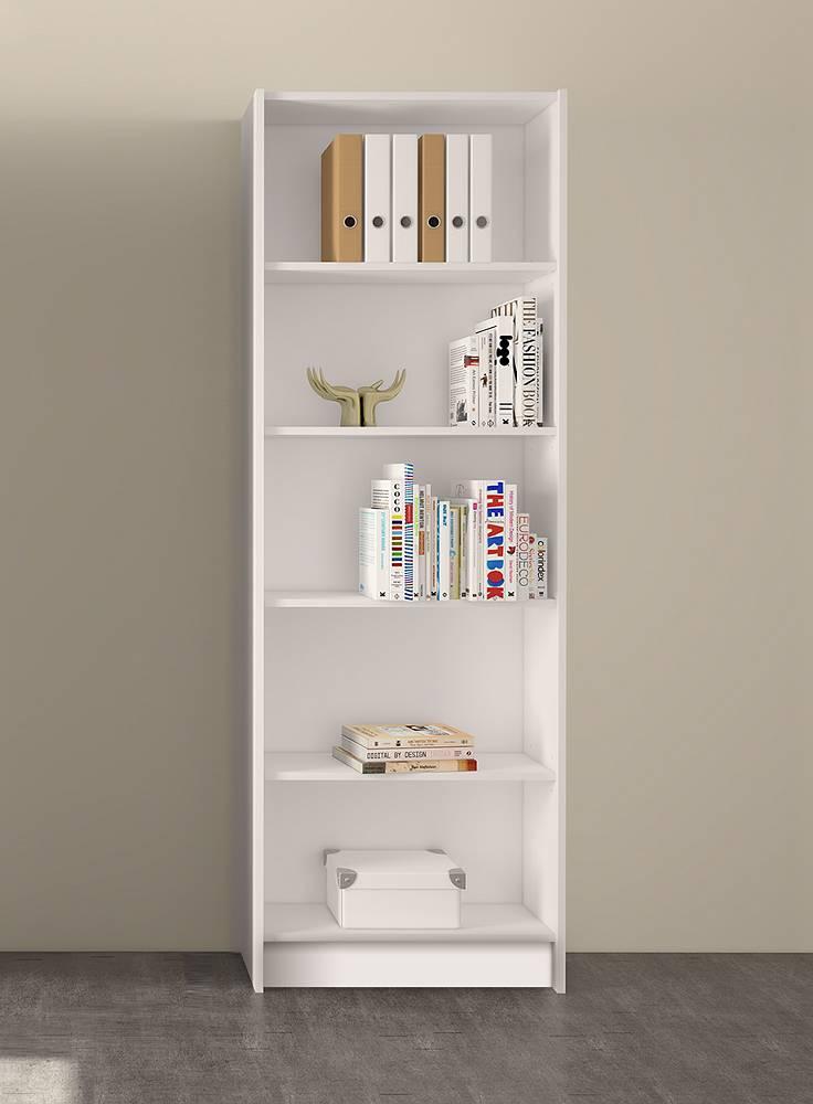 Section boekenkast met 4 planken in wit