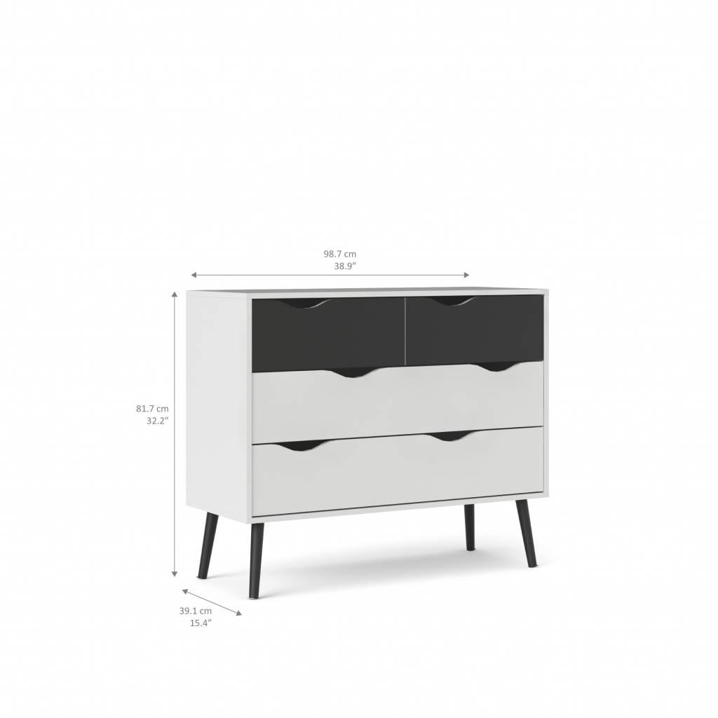 Commode Of Ladenkast.Napoli Commode Ladenkast Met 2x2 Laden Zwart Wit