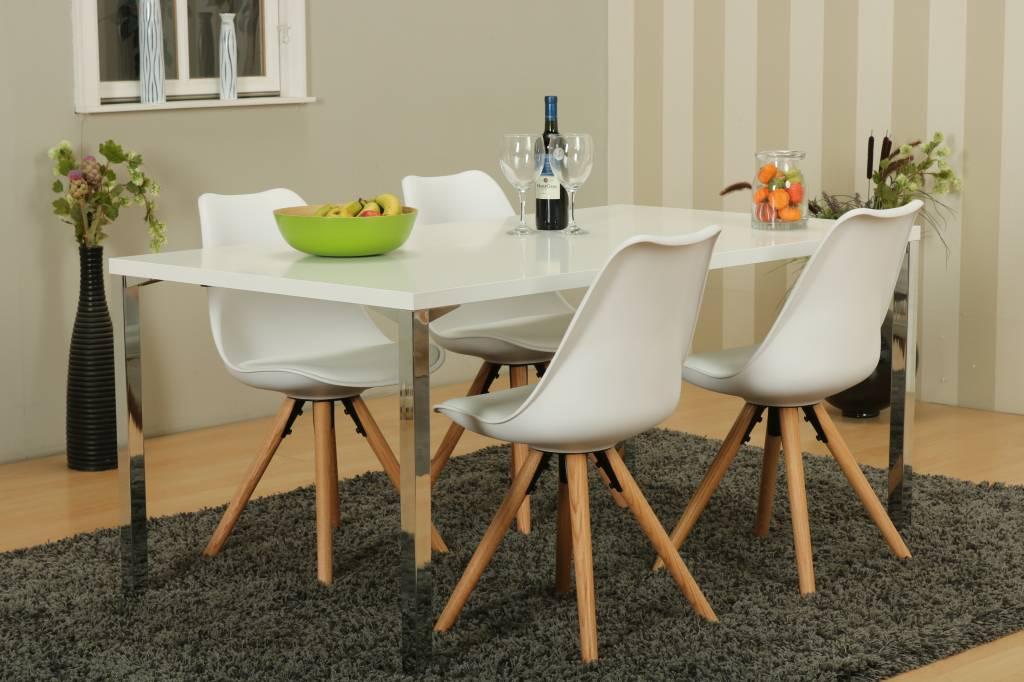Vier Witte Eetkamerstoelen.Mocca Eetkamerset A Met Eettafel En 4 Witte Nelle Eetkamerstoelen