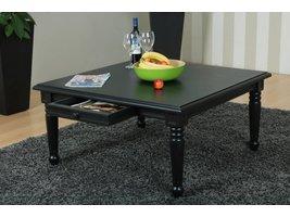 Mozart salontafel met 1 lade in zwart hout in antiek look
