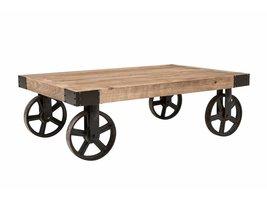 Burk salontafel in gerecycleerd hazelaarhout en zwart metalen onderstel