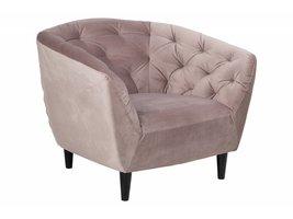 Rian fauteuil in roze stof en zwart onderstel