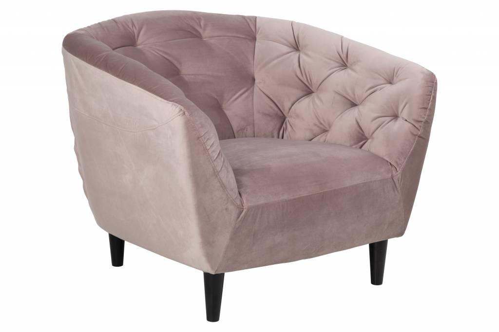 Oud Roze Fauteuil : Rian fauteuil in roze stof en zwart onderstel