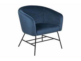 Ramy fauteuil in marineblauwe stof en zwart metalen onderstel