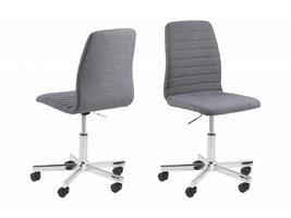 Amira bureaustoel in grijze stof en chromen onderstel