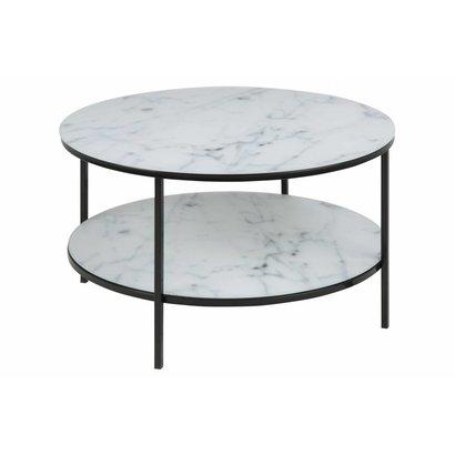 Almaz salontafel Ø80 cm in glas met marmerprint en zwart metalen onderstel