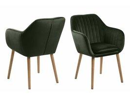 Emil fauteuil met armleuning in bosgroene stof en geolied eiken onderstel