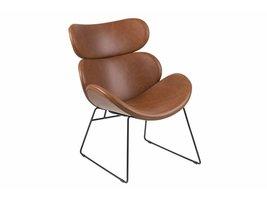 Cazy fauteuil in cognac kunstleder en zwart metalen onderstel