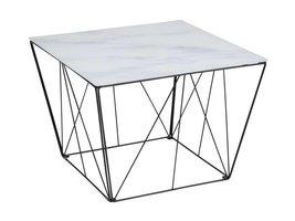 Squar salontafel met glazen bovenblad in marmerprint en zwart metalen onderstel