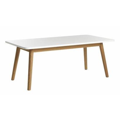 Tula salontafel in wit met massief eiken onderstel