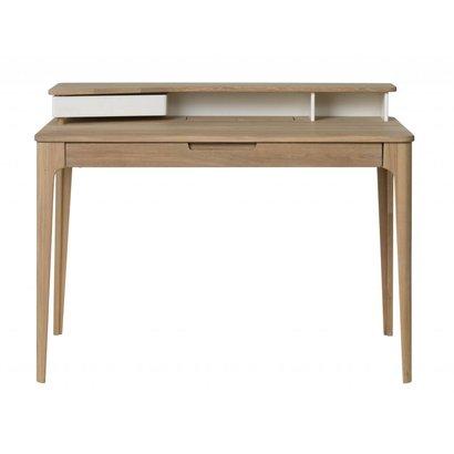Amalie bureau in wit en geolied wit gefineerd eiken met 1 lade