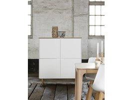 Amalie dressoir in wit en geolied wit gefineerd eiken met 4 deuren