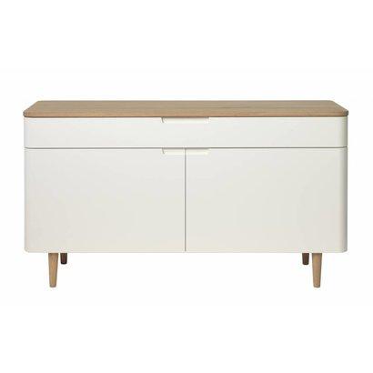 Amalie dressoir in wit en geolied wit gefineerd eiken met 2 deuren en 1 lade
