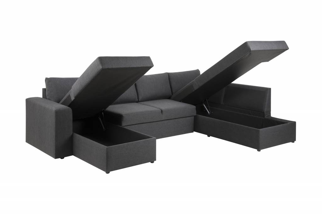 Aula hoekbank met chaise longue links in donkergrijze stof