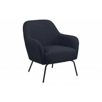 Mel fauteuil in donkerblauwe stof met zwart metalen onderstel