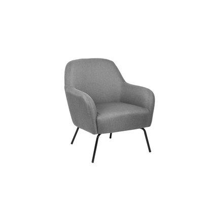 Mel fauteuil in lichtgrijze stof met zwart metalen onderstel