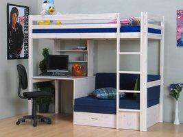 Hoogslaper wit met bureau, bank en kussenset blauw Thuka