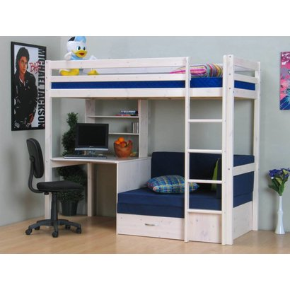 Thuka Hoogslaper wit met bureau, bank en kussenset blauw Thuka