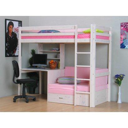 Hoogslaper inclusief onderbouw wit met roze kussens Thuka Prinses
