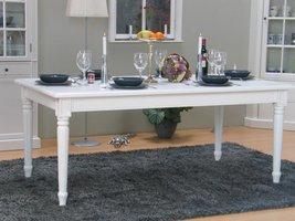 Eetkamertafel Mozart wit landelijke barok tafel