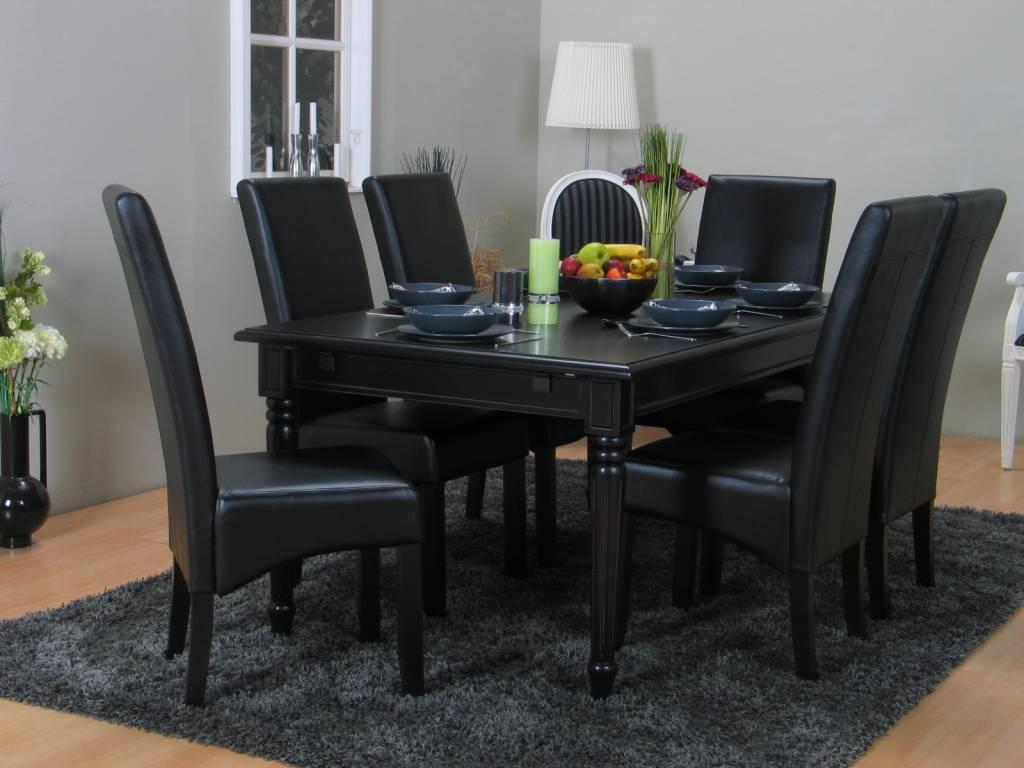 Eettafel Set Kopen.Eethoek Zwart Mozart Barok Tafel Met 6 Zwarte Stoelen