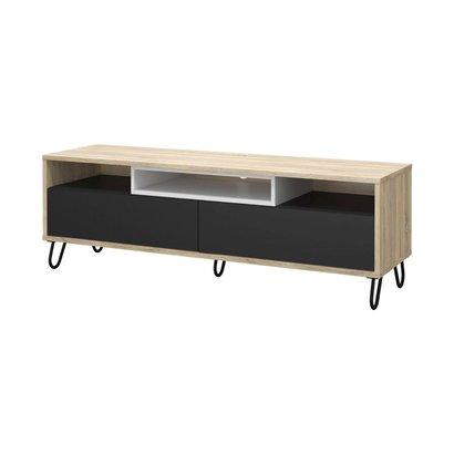 Tvilum Malika tv-meubel in eiken structuur, donkergrijs en wit.