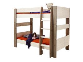 Hioshop Molly Kids bed 90x200 cm wit gewaxt en bruin gebeitst.