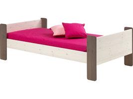 Molly Kids bed 90x200 cm, wit gewaxt en bruin gebeitst.