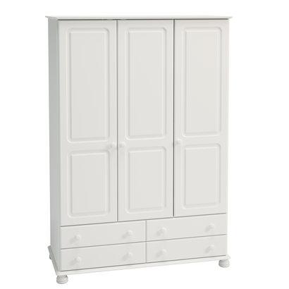 Hioshop Richard kledingkast 3 deuren en 4 lades wit.
